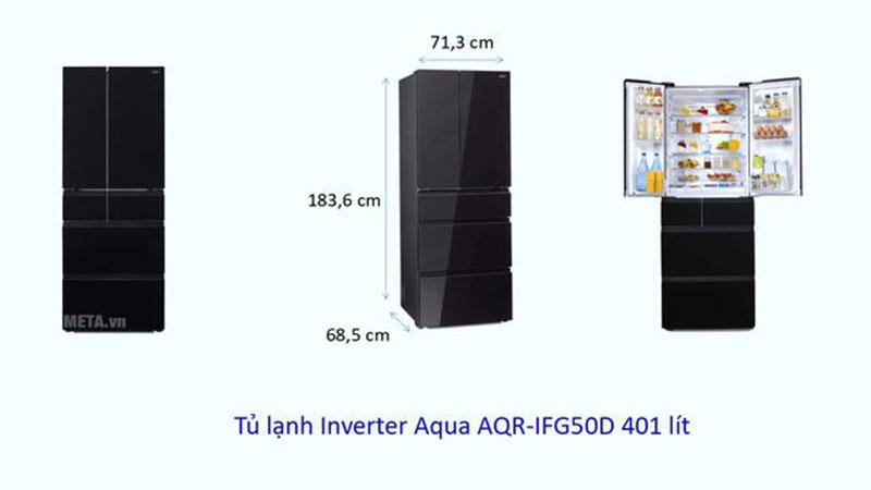 Kích thước tủ lạnh Side by side aqua 401 lít