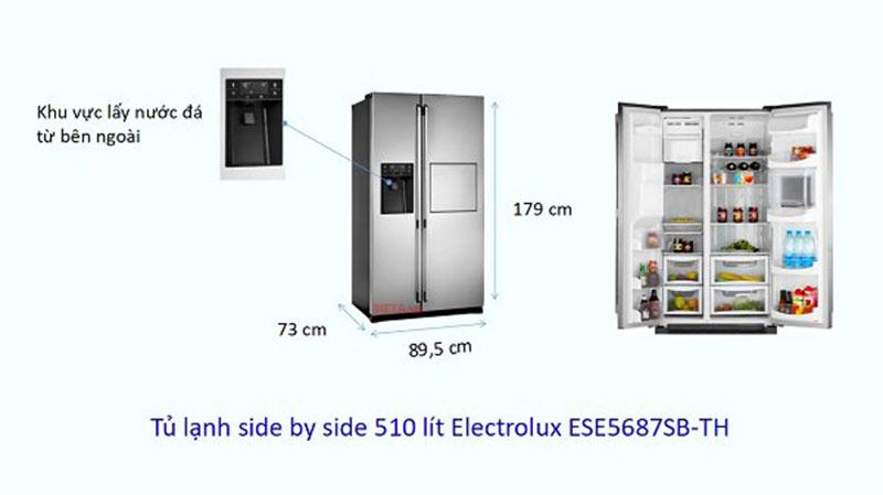 Kích thước tủ lạnh side by side electrolux 510 lít
