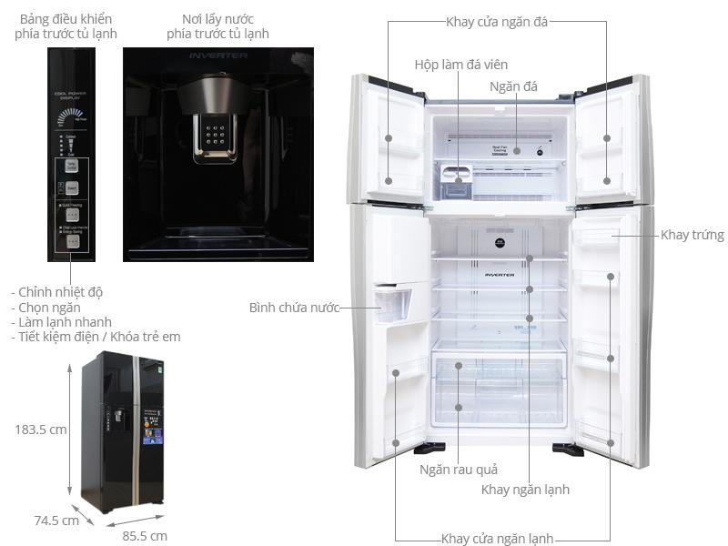 Kích thước tủ lạnh Side by side Hitachi 540 lít