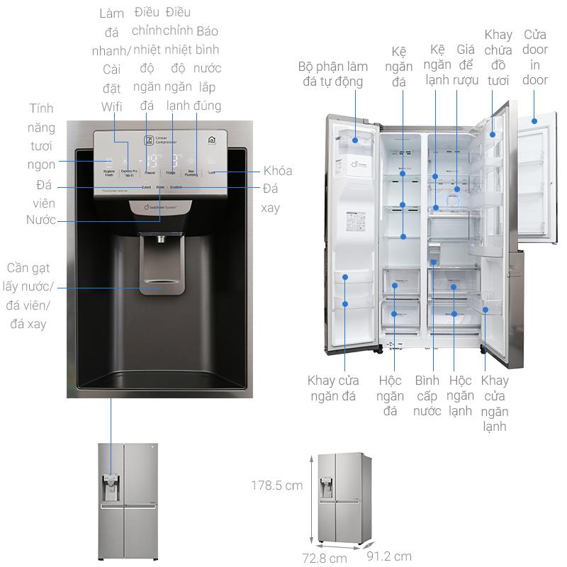 Kích thước tủ lạnh Side by side LG 601 lít
