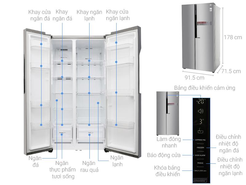 Kích thước tủ lạnh Side by side LG 613 lít