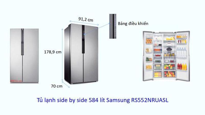 Kích thước tủ lạnh Side by side Samsung 584 lít