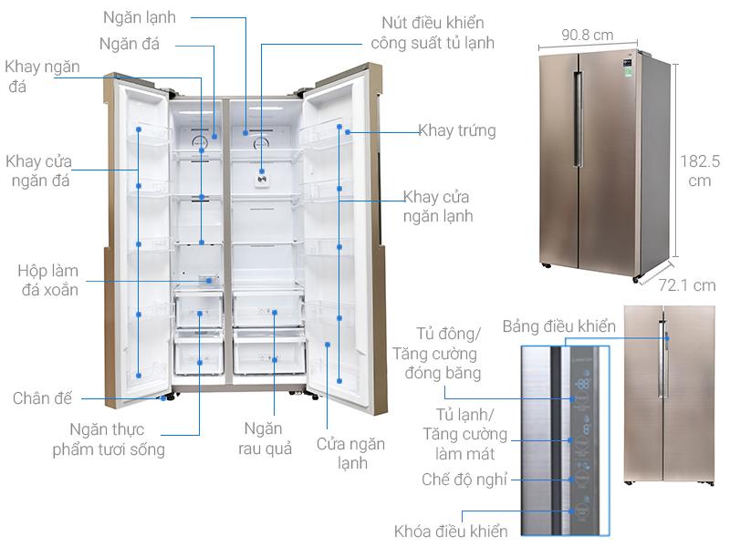 Kích thước tủ lạnh Side by side Samsung 641 lít