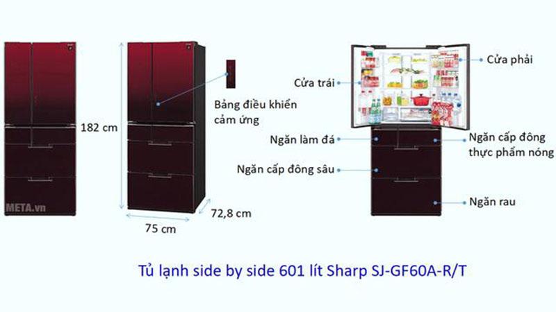 Kích thước tủ lạnh Side by side Sharp 601 lít