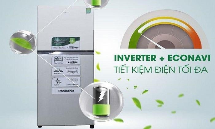 Tủ lạnh Panasonic NR- BL2627VSV1 sử dụng công nghệ Inverter với cảm ứng thông minh Econavi tiết kiệm điện tối đa